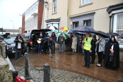 Singing in the rain 'Toy Soldiers' Cenotaph Holyhead