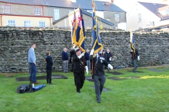 Paying respect Rememberence Gardens St Cybi's 2015